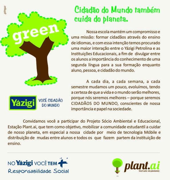 Escola de Idiomas Yazigi promove ação Sustentável em Petrolina.