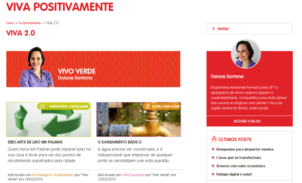 Página do VivoVerde na plataforma #VivaPositivamente da  Coca-cola