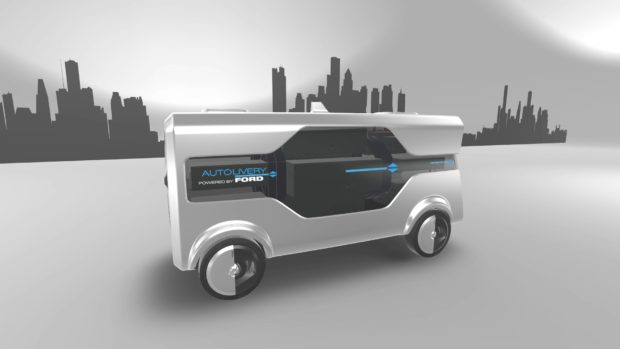 """Autodelivery Concept - O projeto foi desenvolvido por designers no Last Mile Mobility Challenge - um desafio no estilo """"hackathon"""" promovido pela Ford no evento."""